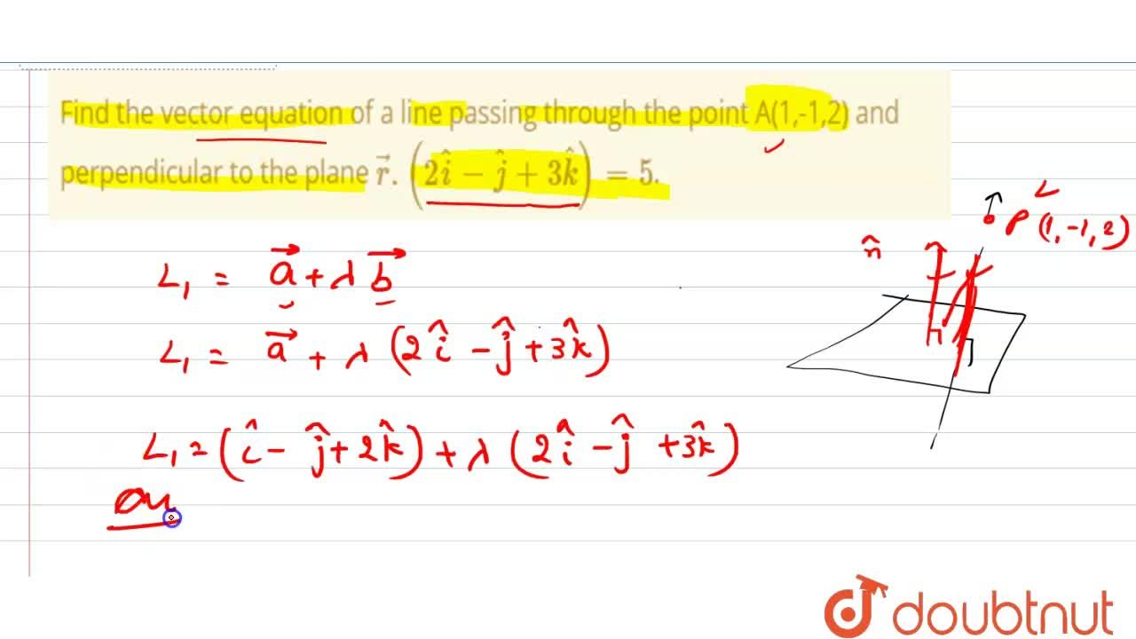 Find the vector equation of a line passing through the point A(1,-1,2) and perpendicular to the plane vecr.(2hati-hatj+3hatk)=5.