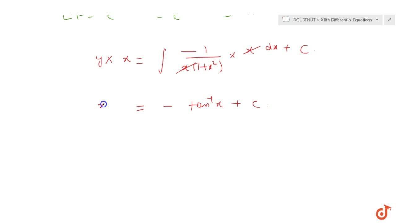 Solution for Solve the differential equation: (1+y+x^2y)dx+(x+