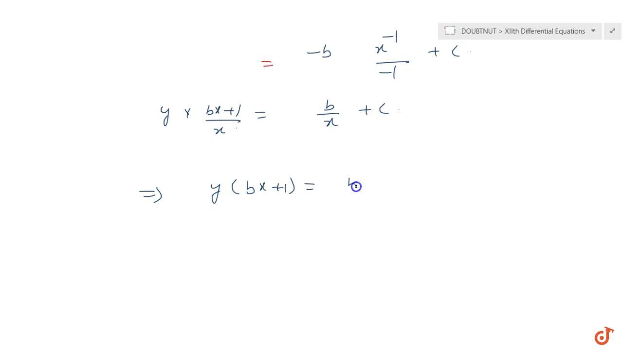Solve the following differential equation: y-x(dy),(dx)=b\ (1+x^2 \ (dy),(dx))