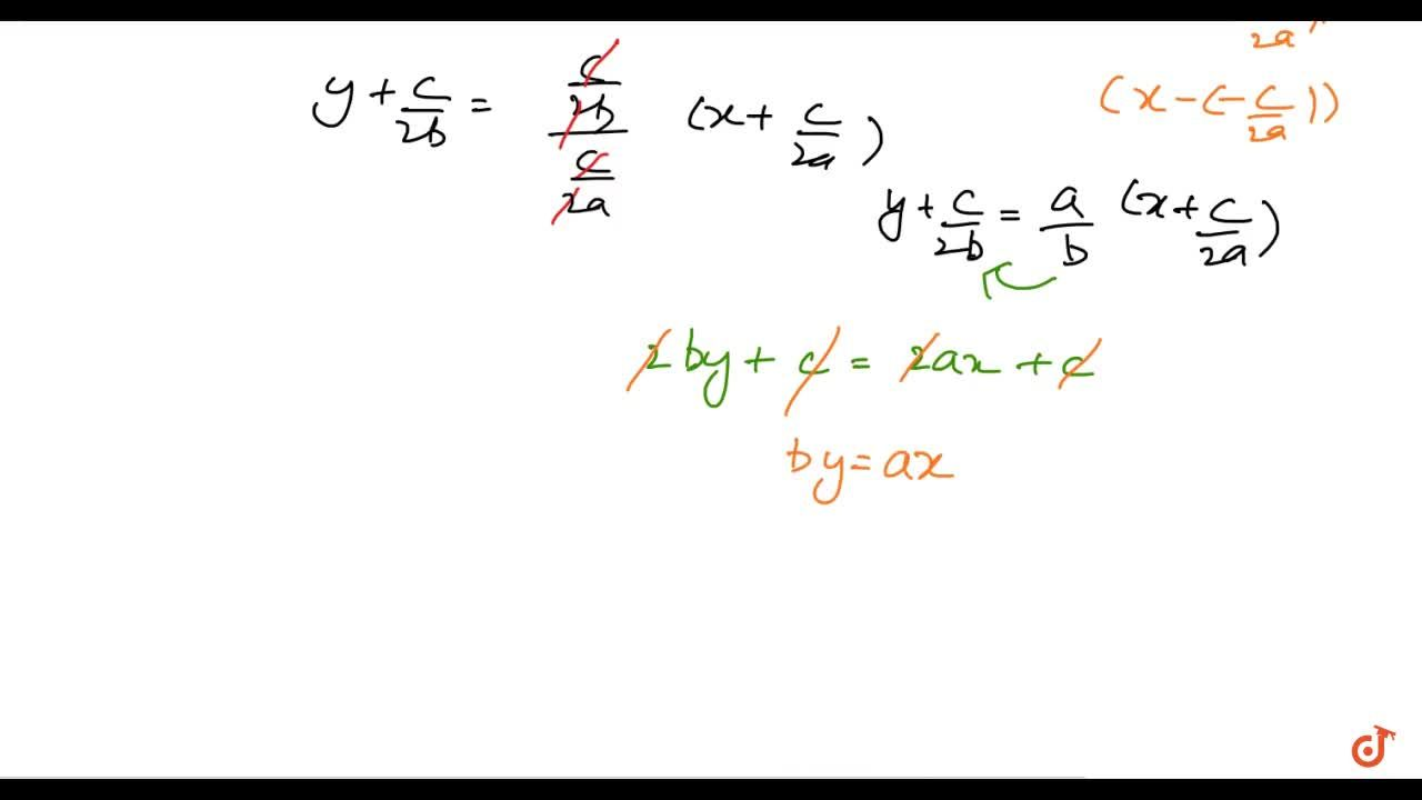 Find the equation of the straight line passing through the origin and   bisecting the portion of the line a x+b y+c=0 intercepted between the coordinate axes.