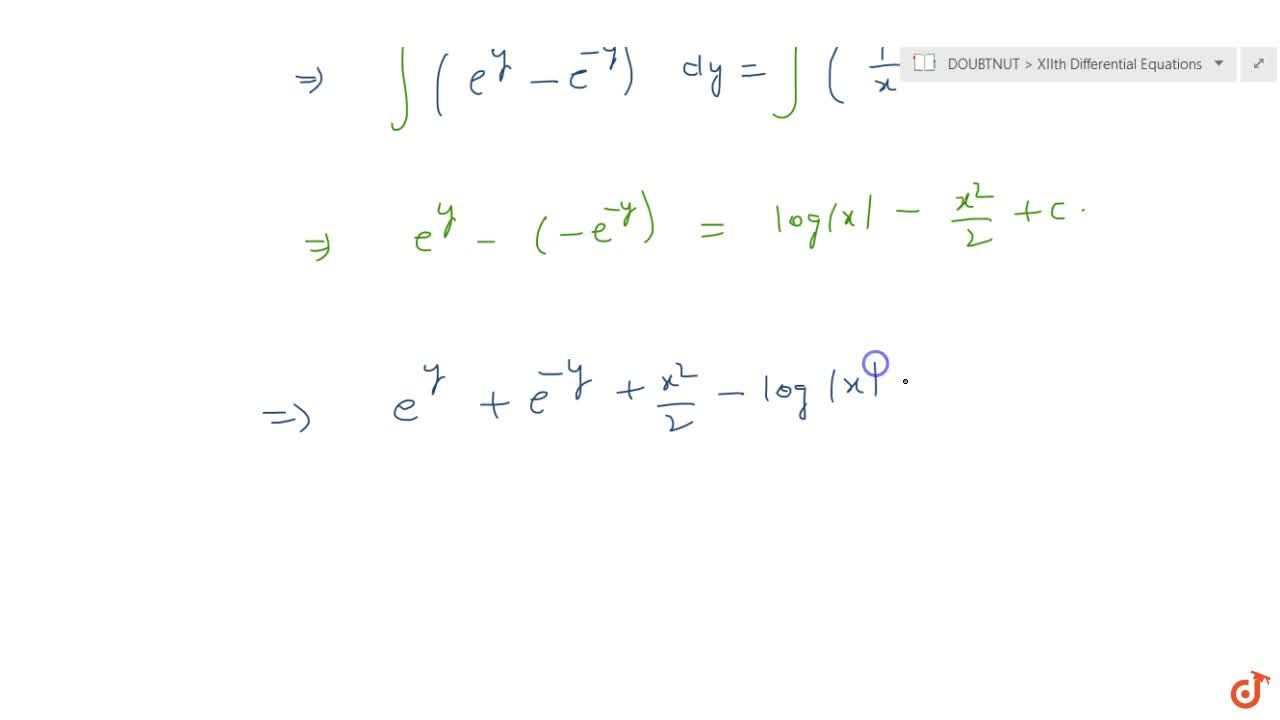 Solution for Solve the following differential equation: x\ (e^