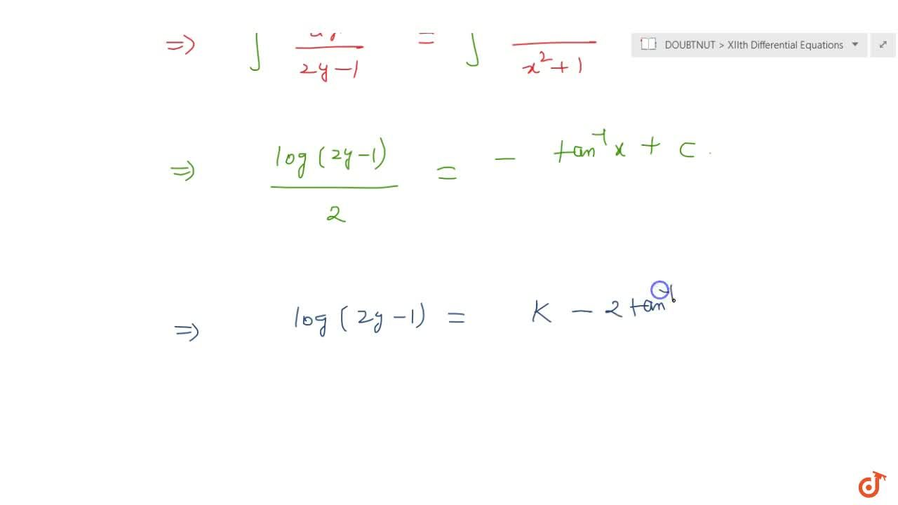 Solve the following differential equation: (x^2+1)dy+(2y-1)dx=0