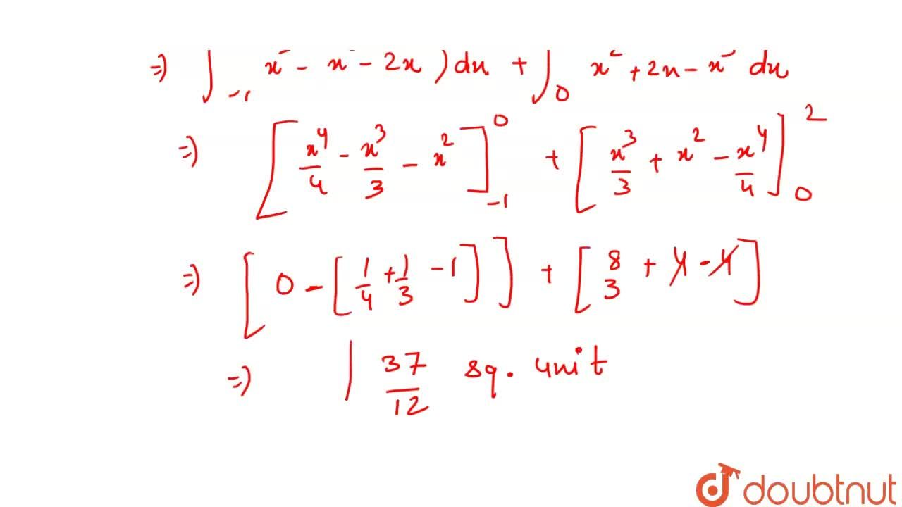 Solution for Find the area bounded by the curves y=x^(3)-x and