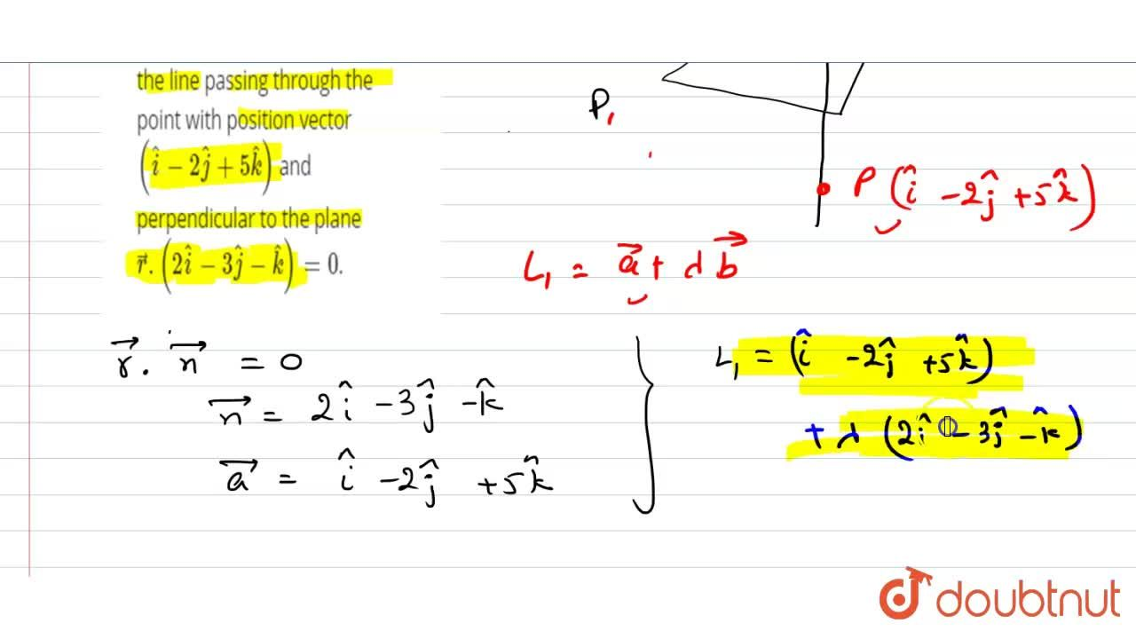 Find the vector equation of the line passing through the point with position vector (hati-2hatj+5hatk) and perpendicular to the plane vecr.(2hati-3hatj-hatk)=0.