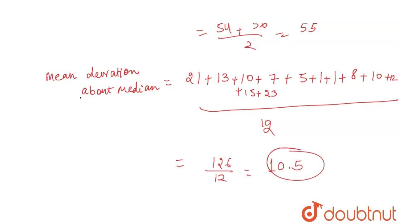 Solution for Find the mean deviation about the median for the f