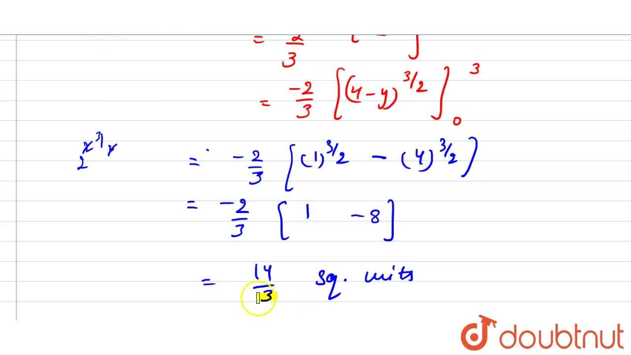 Find the area bounded by the curve y=(4-x^2) the y-axis and the lines y=0 y=3