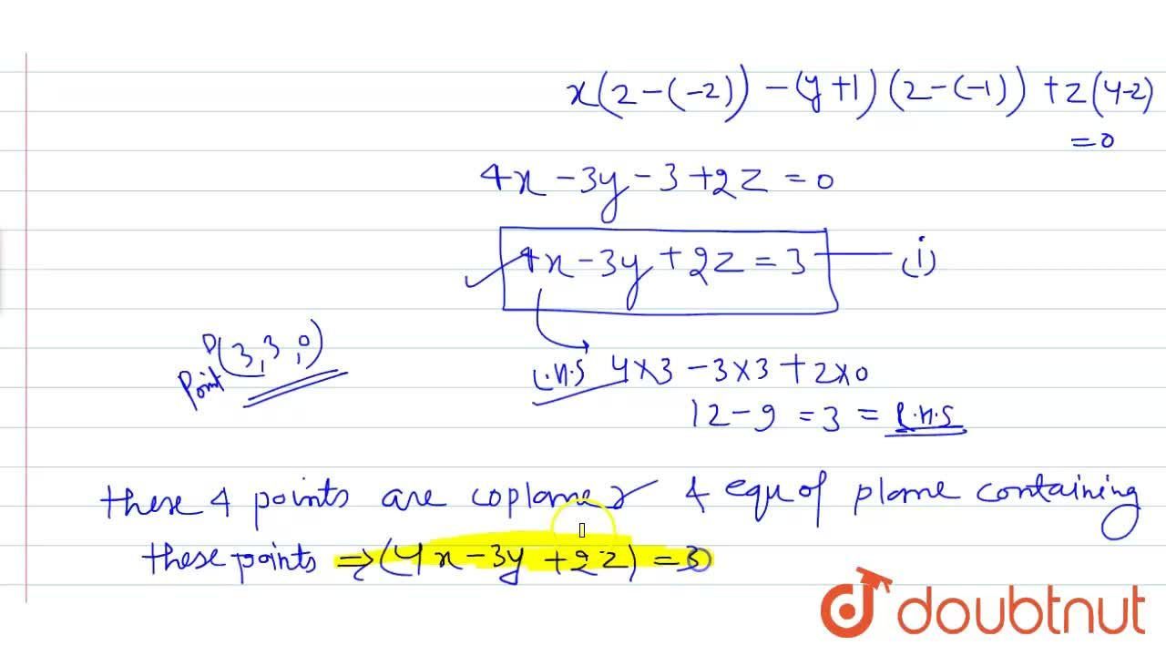 Solution for Show that the four points A(0,-1,0), B(2,1,-1), C(