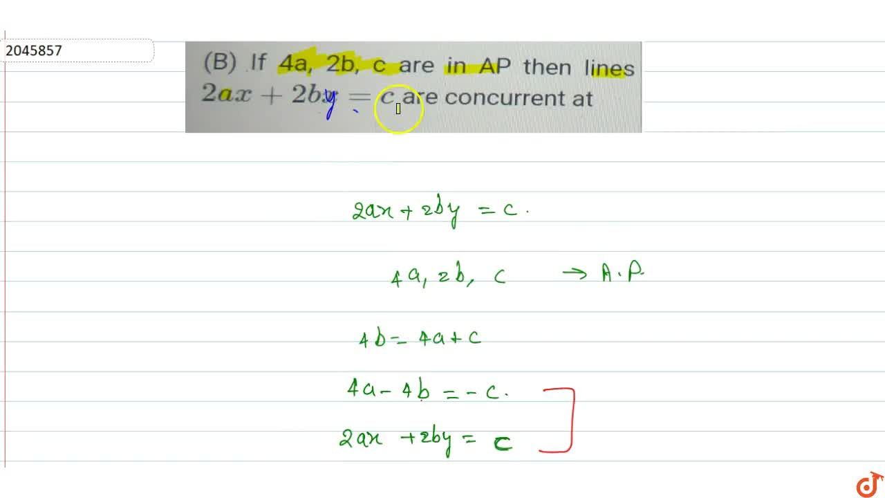 Solution for If 4a,2b,c are in AP then lines 2ax+2bx=c are