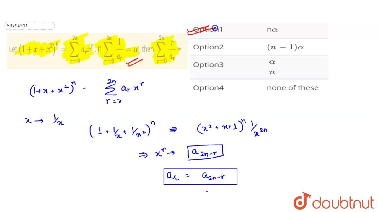 Solution for Let (1 + x + x^(2))^(n) = sum_(r=0)^(2n) a_(r) x^