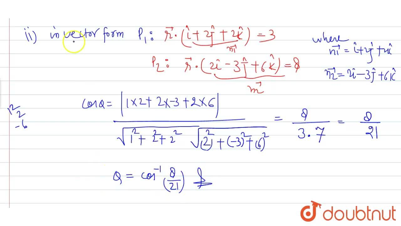 Solution for Find the acute angle between the following planes: