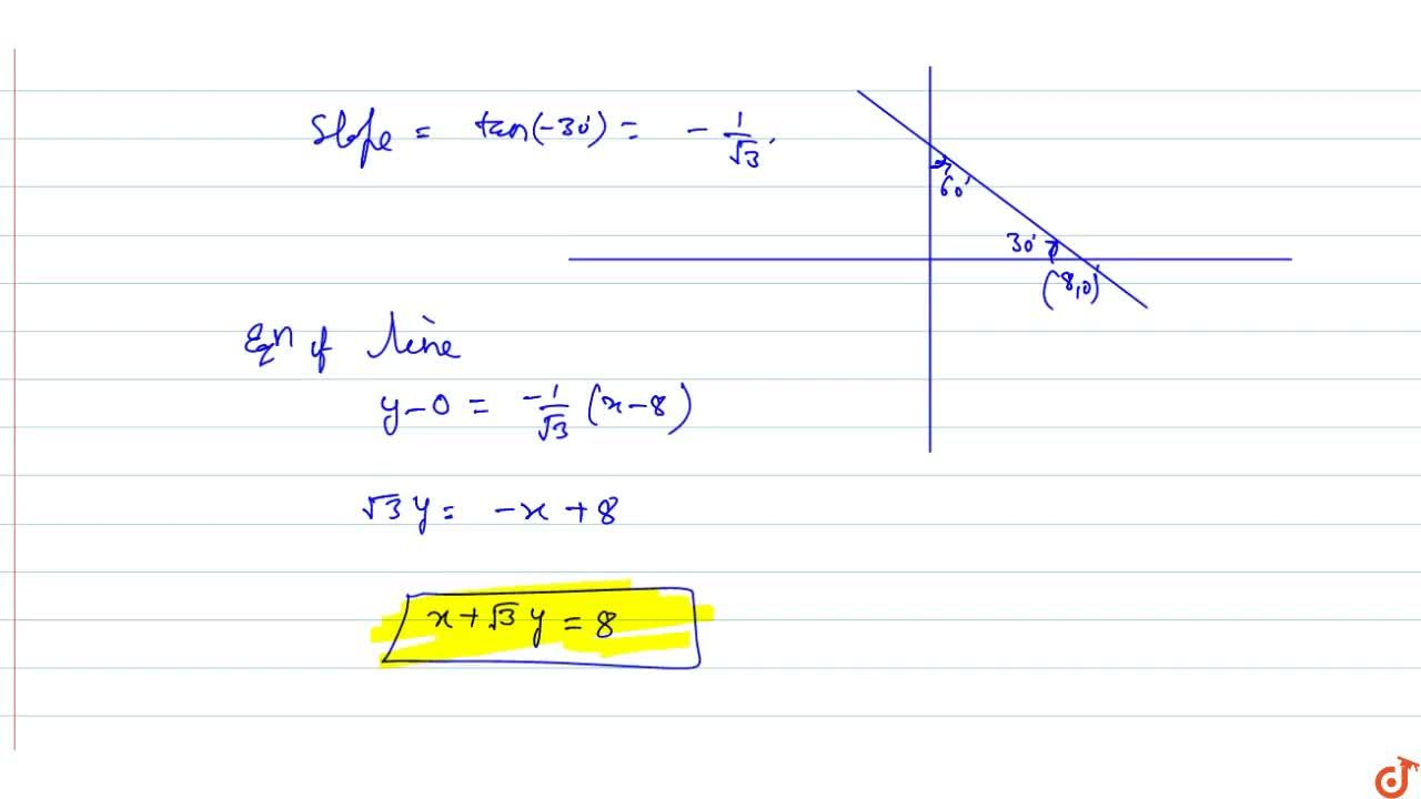 Solution for  The equation of the straight line cutting off an