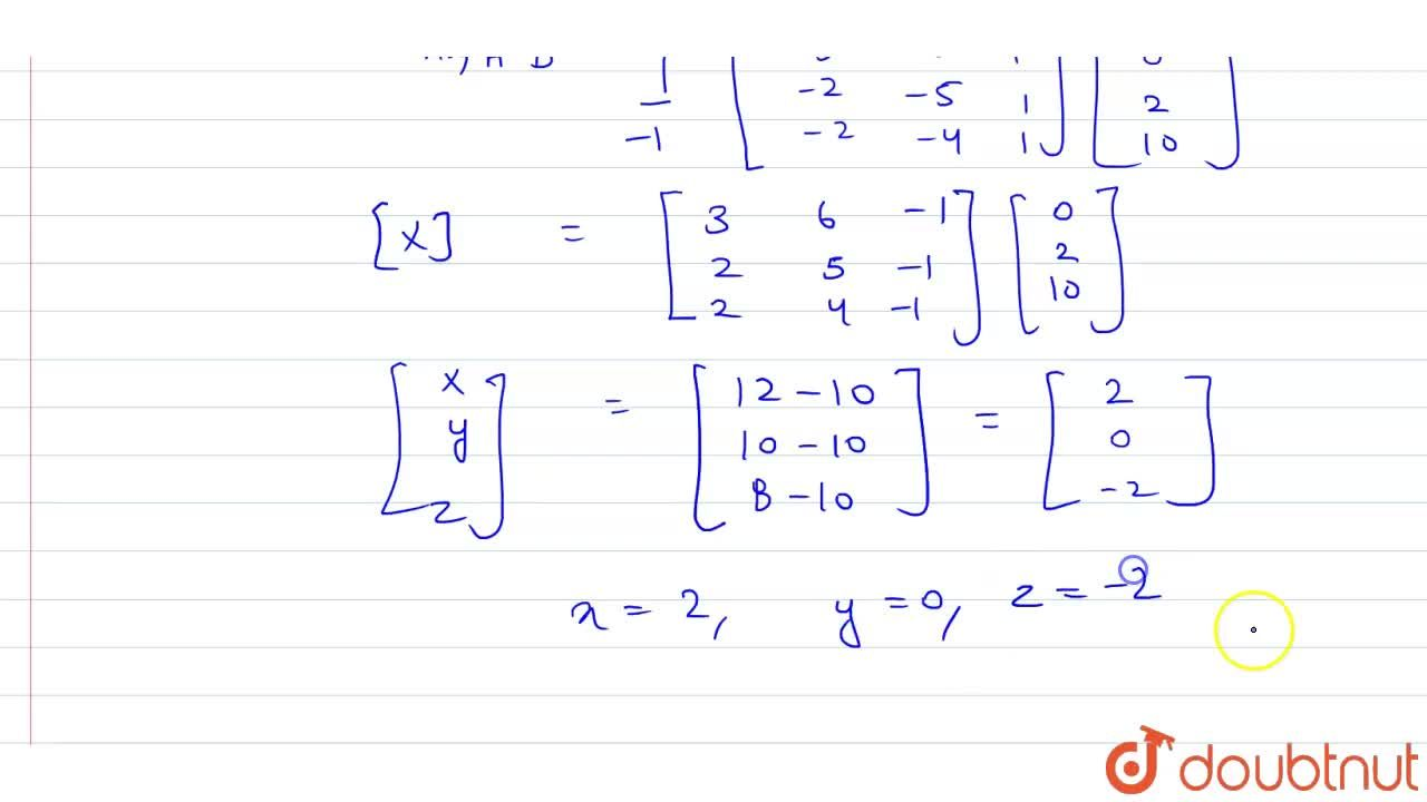 Solution for x-2y+z=0 <br> y-z=2 <br> 2x-3z=10