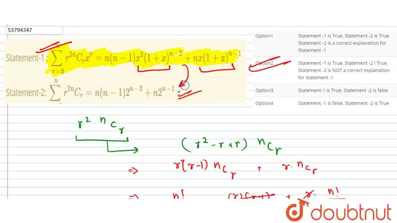 """Solution for Statement-1 :  sum_(r=0)^(n)  r^(2) """"""""^(n)C_(r) x"""