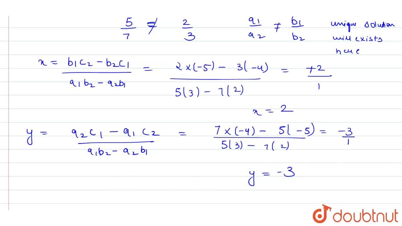 Solution for 5x+2y=4 <br> 7x+3y=5