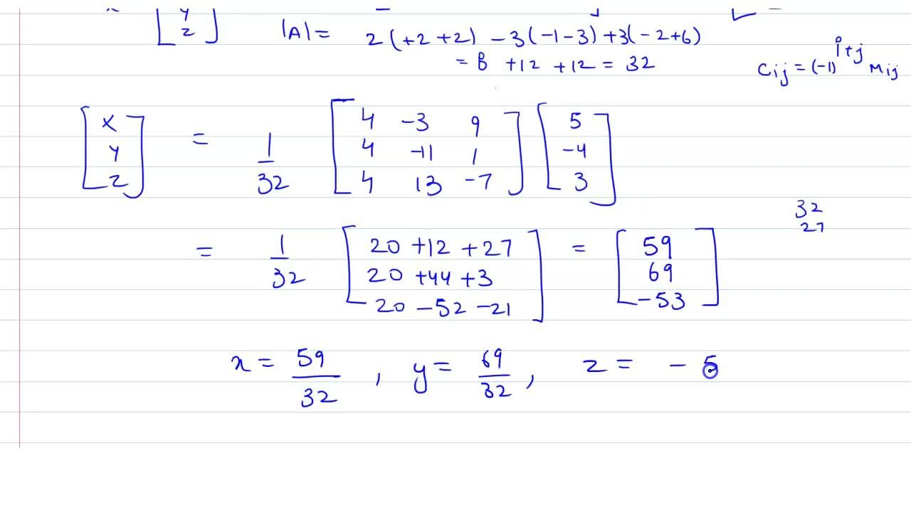 Solution for 2x+3y+3z=5 <br> x-2y+z=-4 <br> 3x-2y-z=3