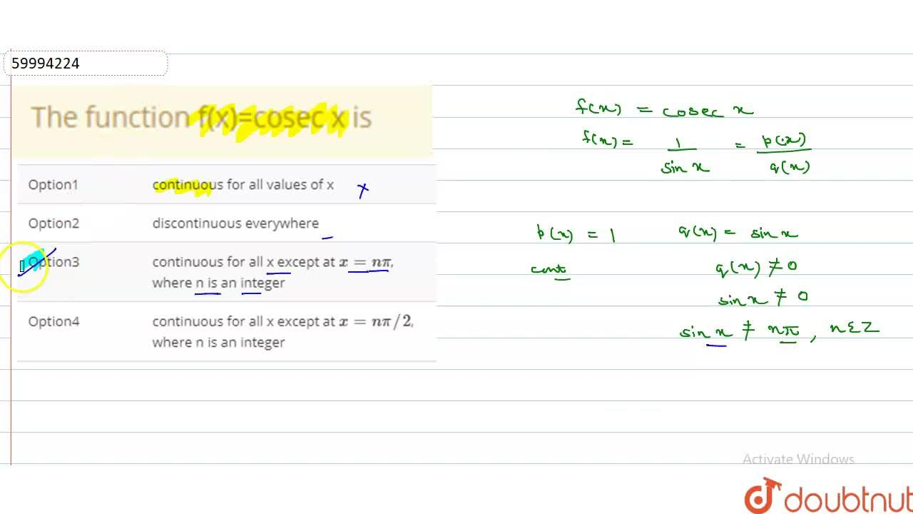Solution for The function f(x)=cosec x is