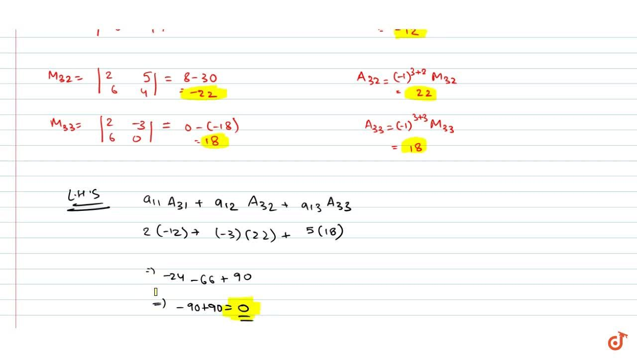 Solution for Find minors and cofactors of the elements of the