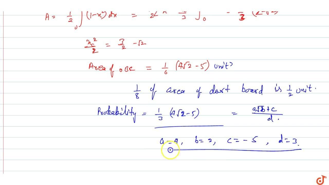 A dart, thrown at random, hits a square target. Assuming that any two parts of the target of equal area are equally likely to be hit, find the probability that the point hit is nearer to the center than to any edge. Write your answer in the form ((asqrtb+c)),d where a, b, c, and d are integers.