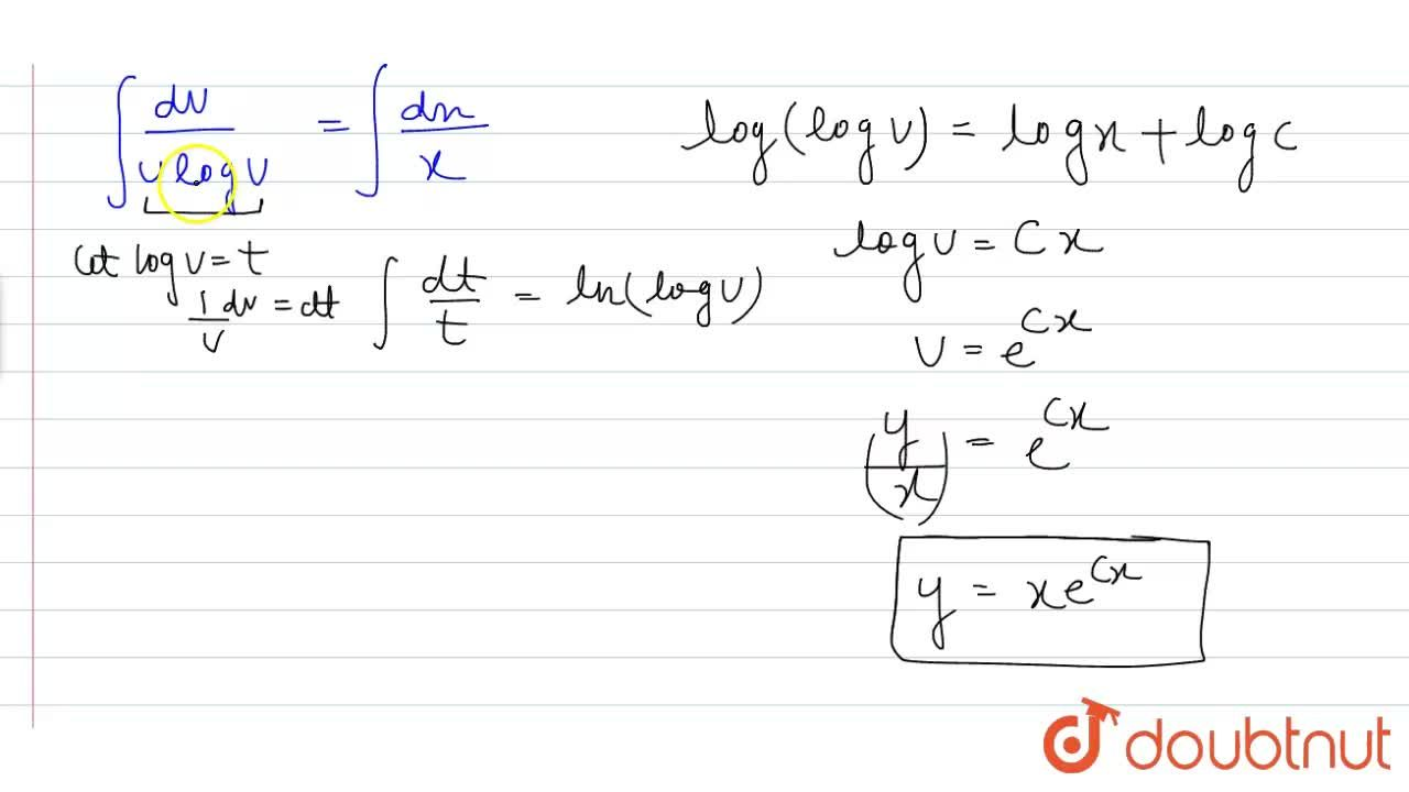 Solution for x(dy),(dx)=y(logy-logx+1)