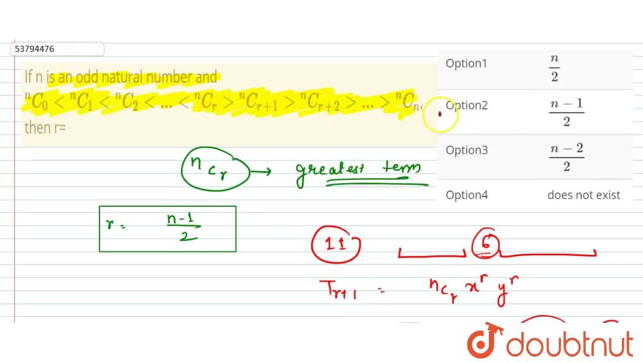 """Solution for If n is an odd natural number and  <br> """"""""^(n)C_("""