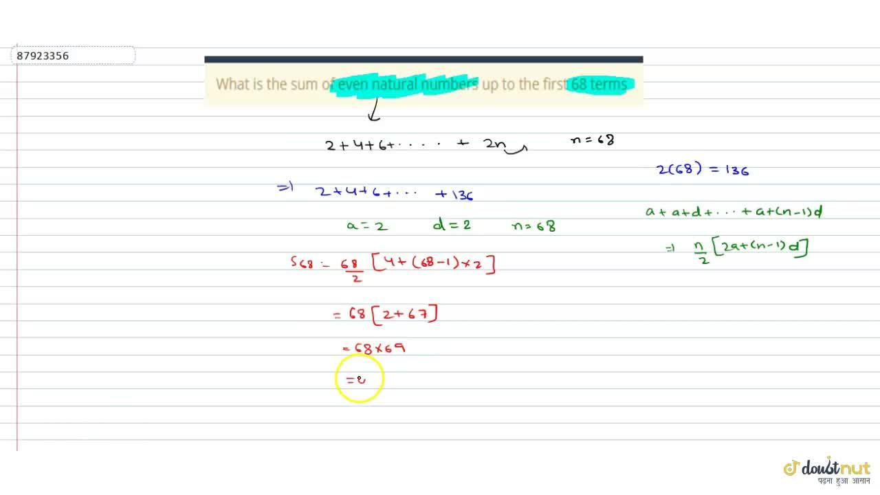 Solution for  What is the sum of even natural numbers up to the
