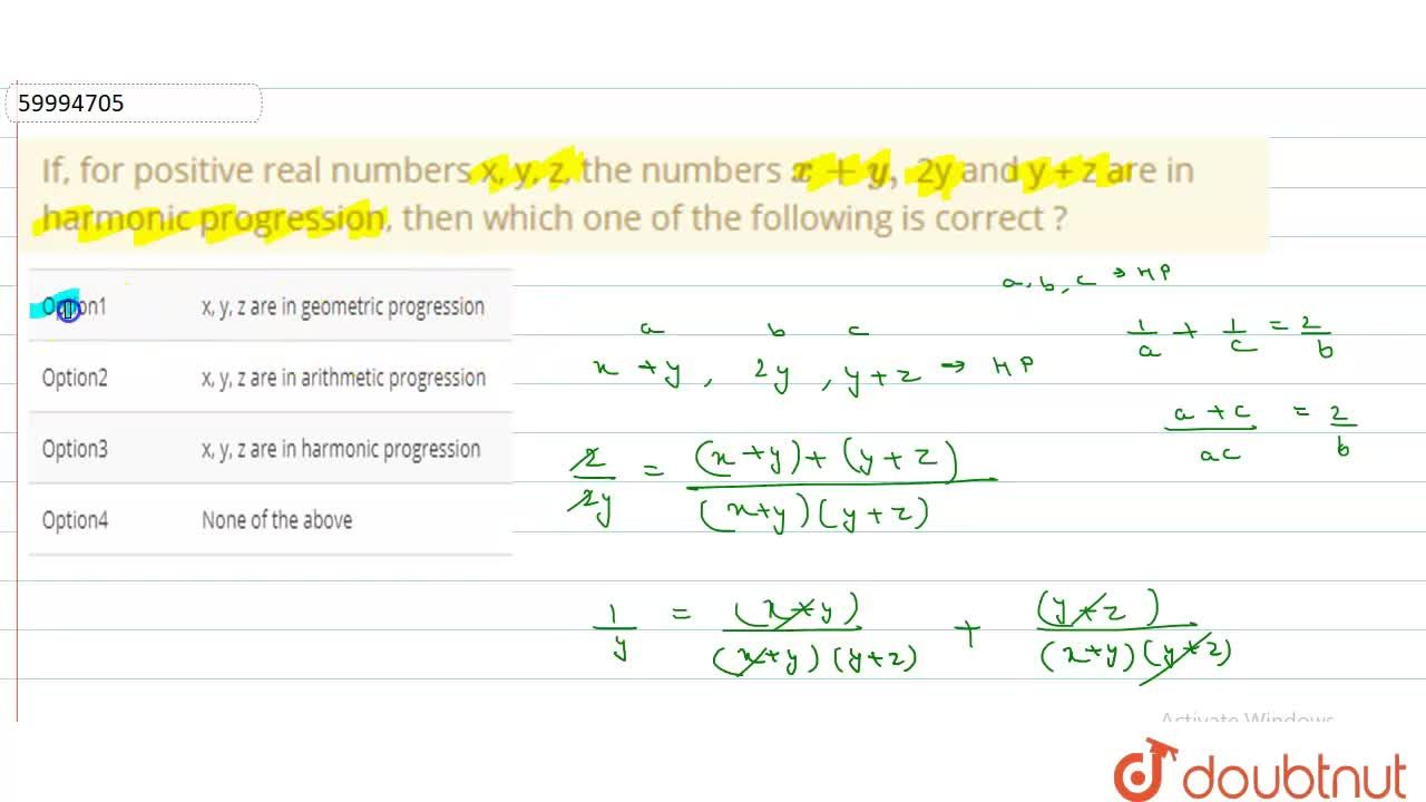 Solution for If, for positive real numbers x, y, z, the numbers