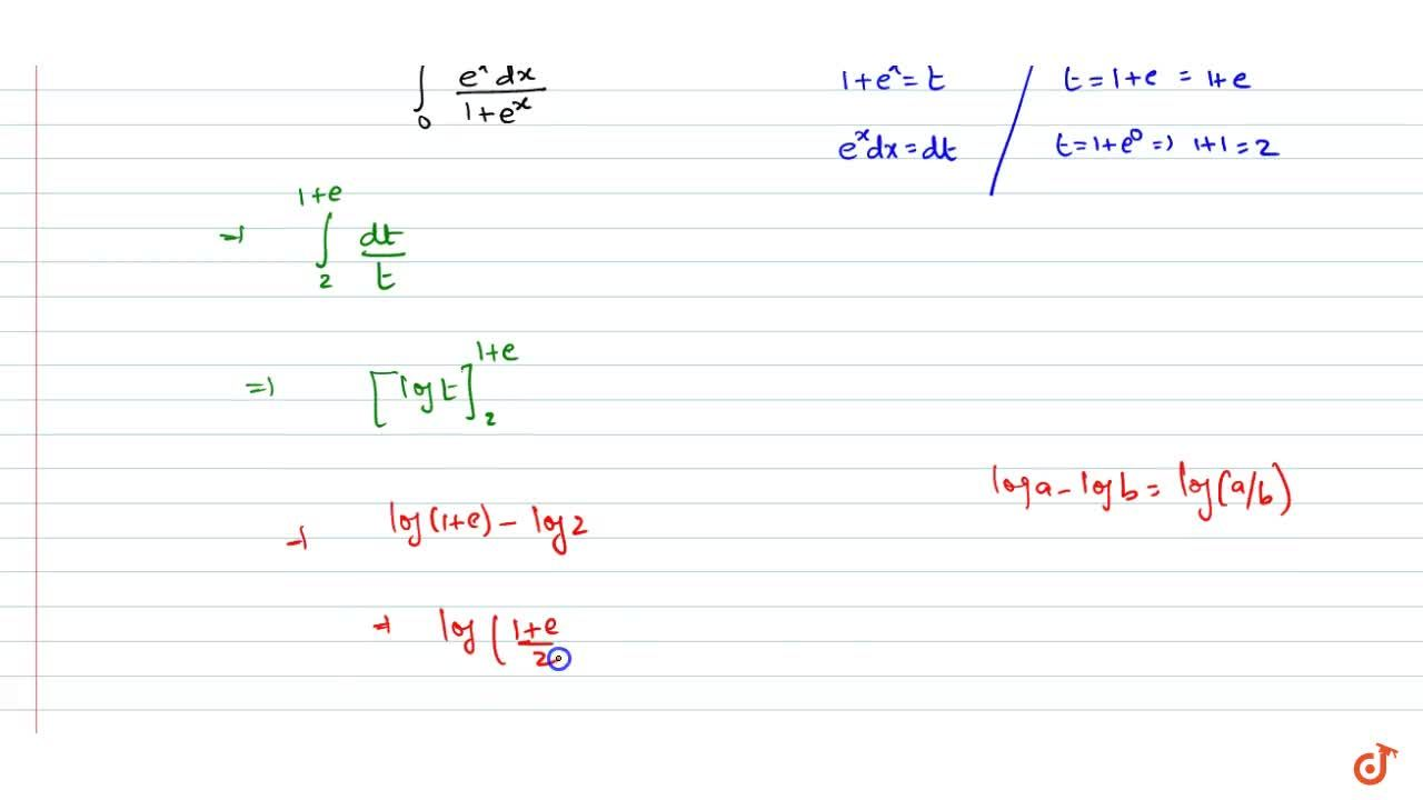 Solution for int_0^1(e^x dx),(1+e^x)