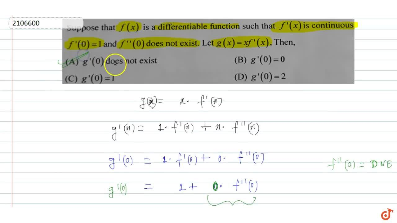 Solution for Suppose that f (x) is a differentiable function