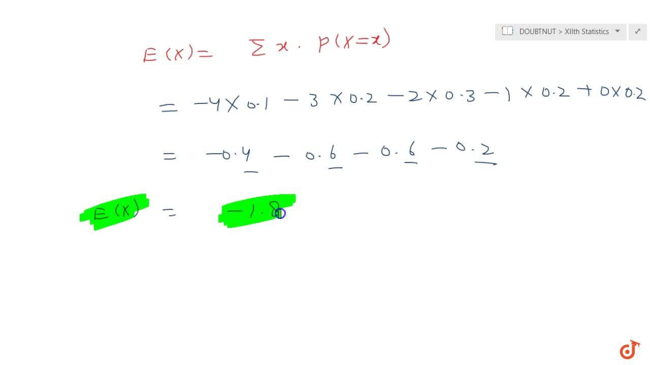 Solution for For the following probability distribution: X :\