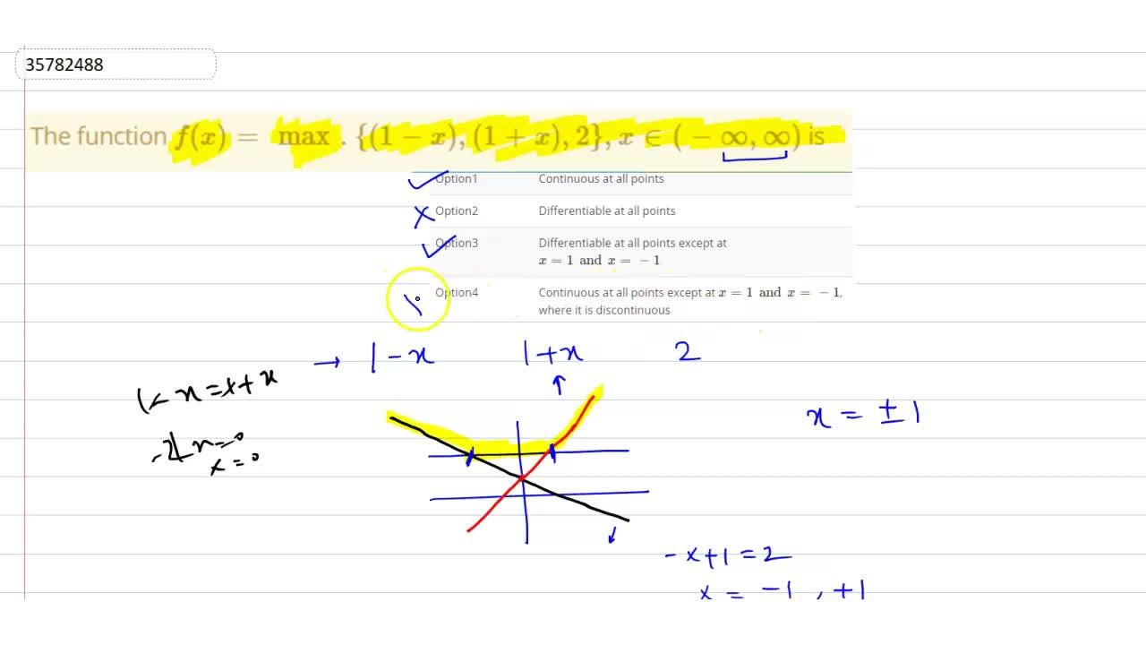 The function `f(x) = max. {(1-x), (1+x), 2}, x in (-oo, oo)` is