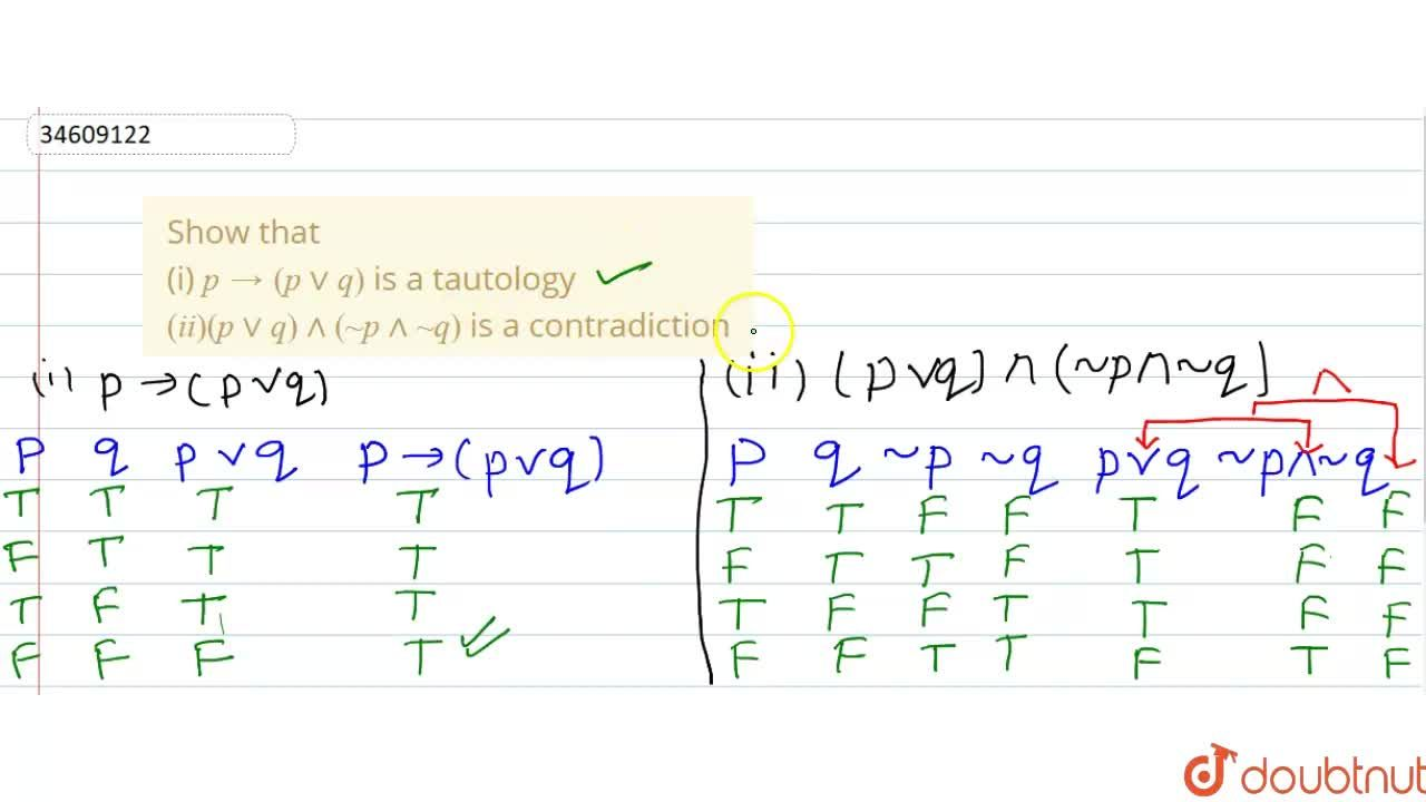 Solution for Show that <br> (i) p to (pvvq) is a tautology <b
