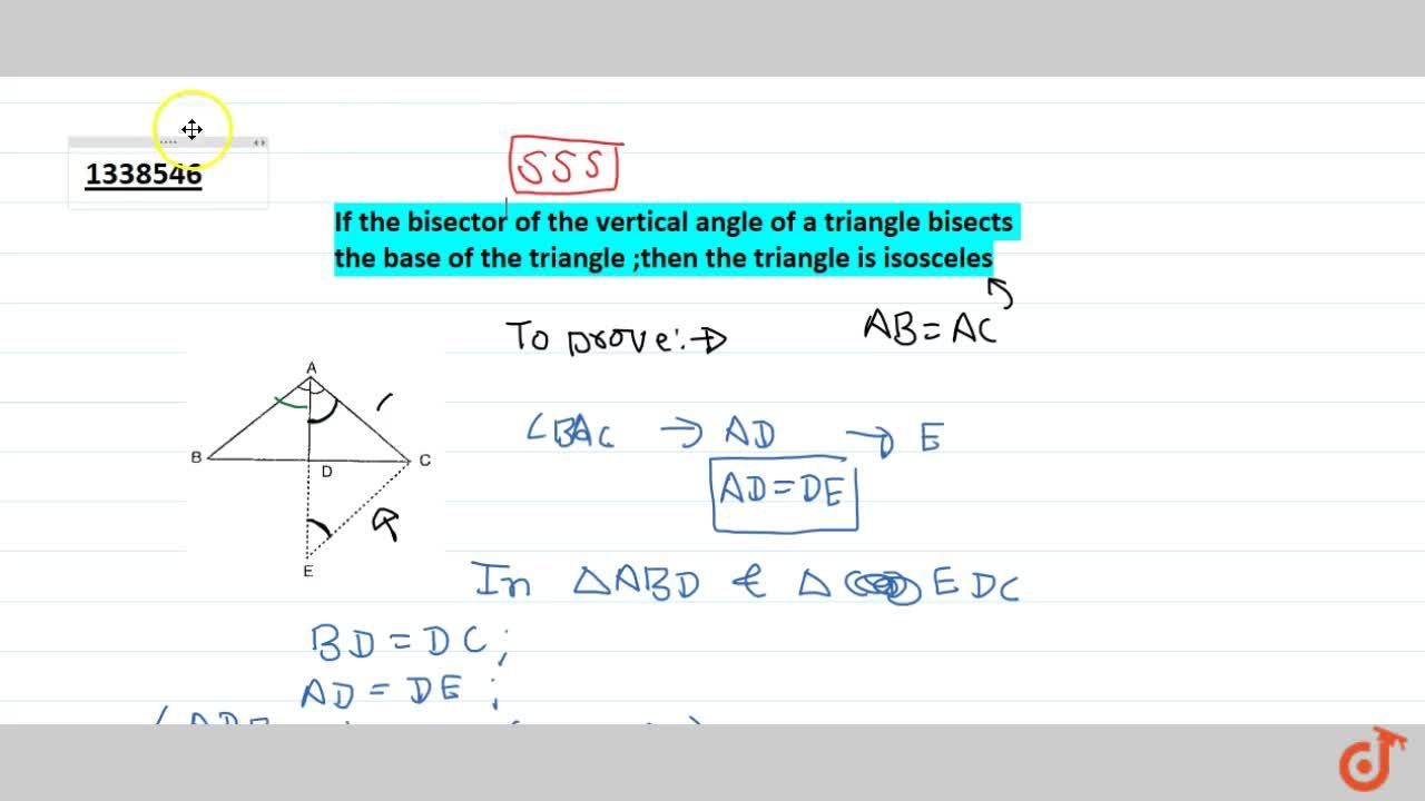 TRIANGLES | SUFFICIENT CONDITION FOR CONGRUENCE OF TRIANGLE | Why we are looking for it ?, Side Angle Side (SAS) Congruence - Two triangles are congruent if two sides and the included angle of one are equal to the corresponding sides and the included angle of the other triangle., Angles opposite to two equal sides of a triangle are equal., Angle-Side-Angle (ASA) Congruence - Two triangles are congruent if two angles and the included side of one triangle are equal to the corresponding two angles and the included side of the other triangle., Angle Angle Side (AAS) Congruence - If any two angles and a non-included side of one triangle are equal to the corresponding angles and side of another triangle; the two ttriangles are congruent., If two angles of a triangle are equal;then sides opposite to them are also equal., If the altitude from one vertex of a triangle bisects the opposite side; then the triangle is isosceles., In an Isoceless triangle altitude from the vertex bisects the base., If the bisector of the vertical angle of a triangle bisects the base of the triangle;then the triangle is isosceles.