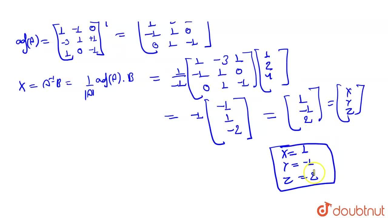 Solution for निम्नलिखित समीकरण निकाय <br> x+2y+z=1 <br> x+y+z=2