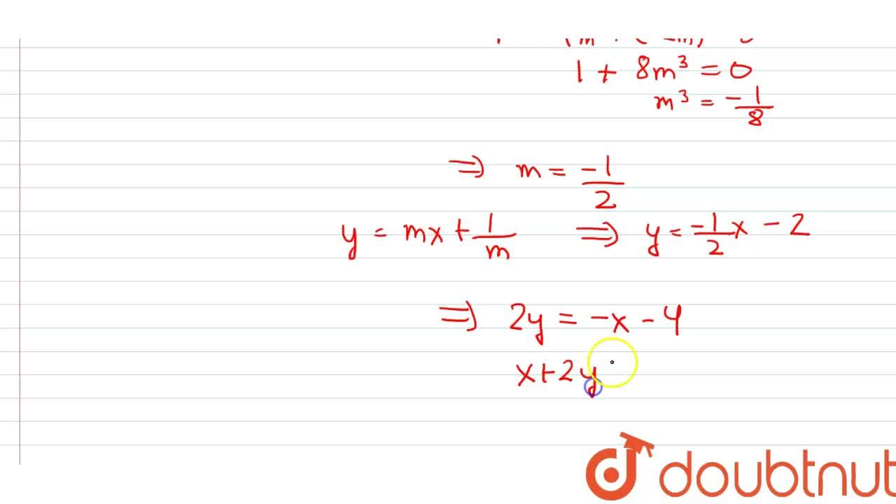 Solution for Equation of a common tangent to the parabola y^(2