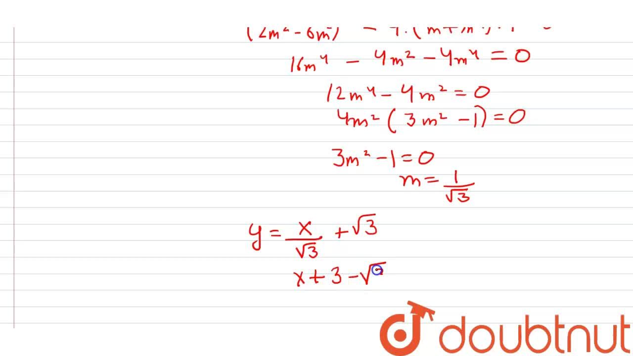 Solution for Equation of a common tangent to the circle x^(2)+