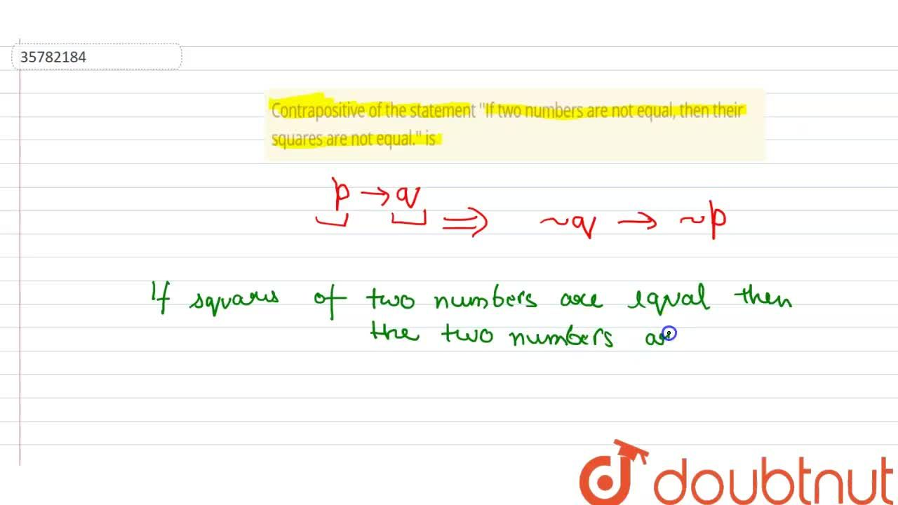 Solution for Contrapositive of the statement ''If two numbers a