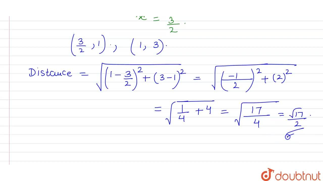 Solution for The distance of the point (1, 3) from the line 2x