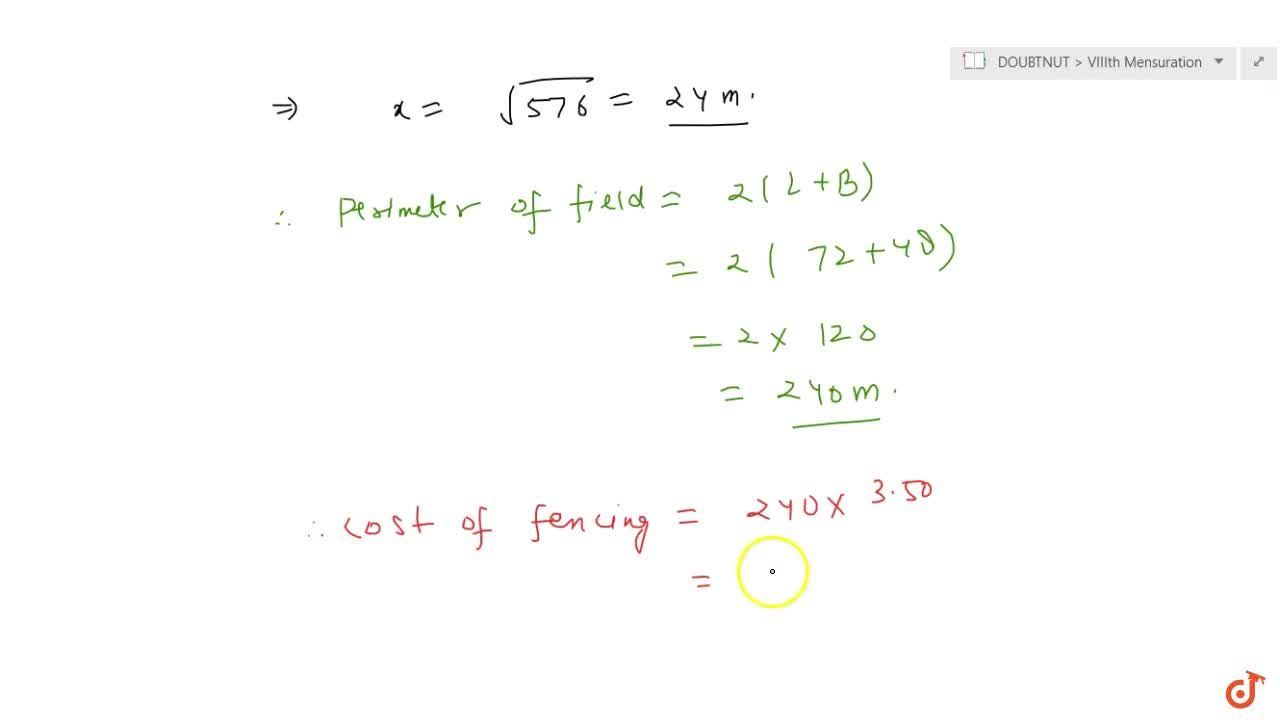 Solution for The length and breadth of a rectangular field are
