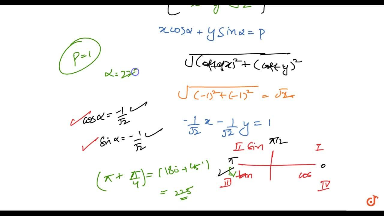 Reduce the following equations to the normal form and find p\ a n d\ alpha in each case: x+y+sqrt(2)=0