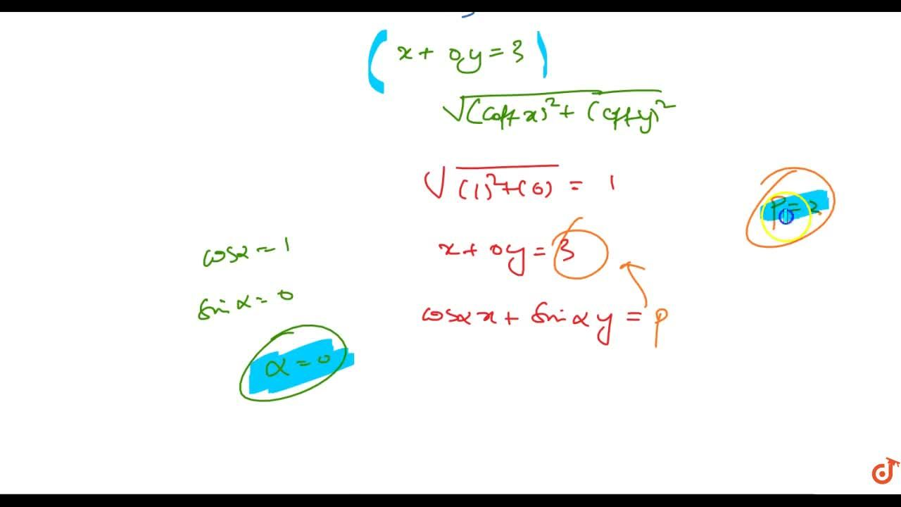 Reduce the following equations to the normal form and find p\ a n d\ alpha in each case: x-3=0