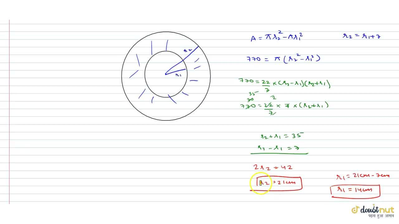 Solution for The area enclosed between two concentric circles i