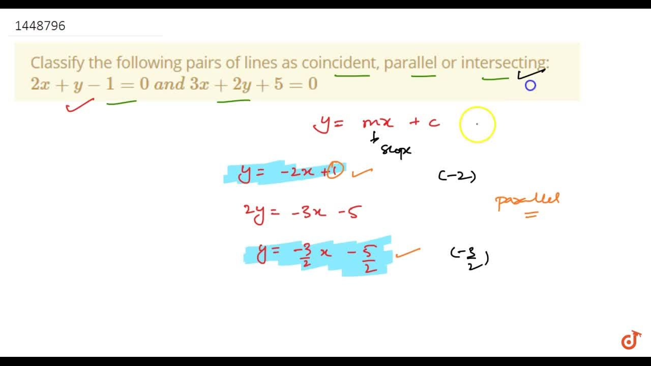 Solution for Classify the following pairs of lines as coinciden