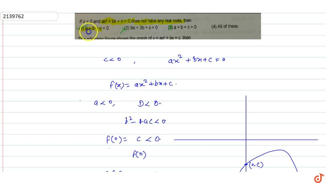 Solution for If c< 0 and ax^2 + bx + c = 0 does not have any