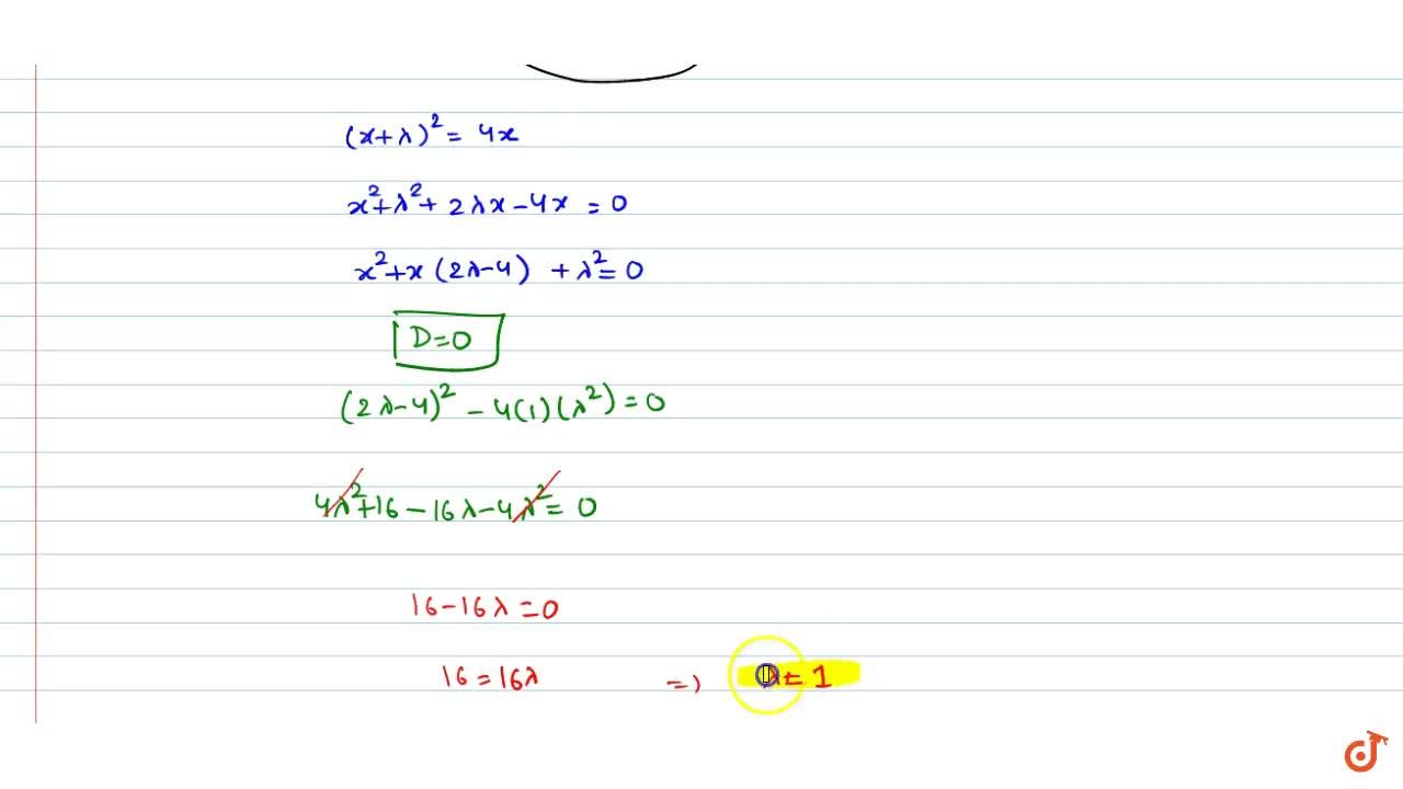 If the line y = x + lambda is tangent of y^2 = 4x, then the value of lambda is (i) 1 (ii)-1 (iii)2 (iv)0