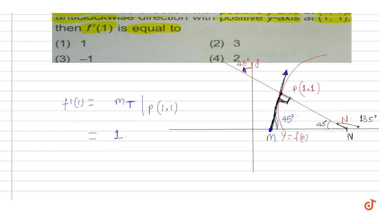 Solution for  If the normal to y = f(x) makes an angle of. p