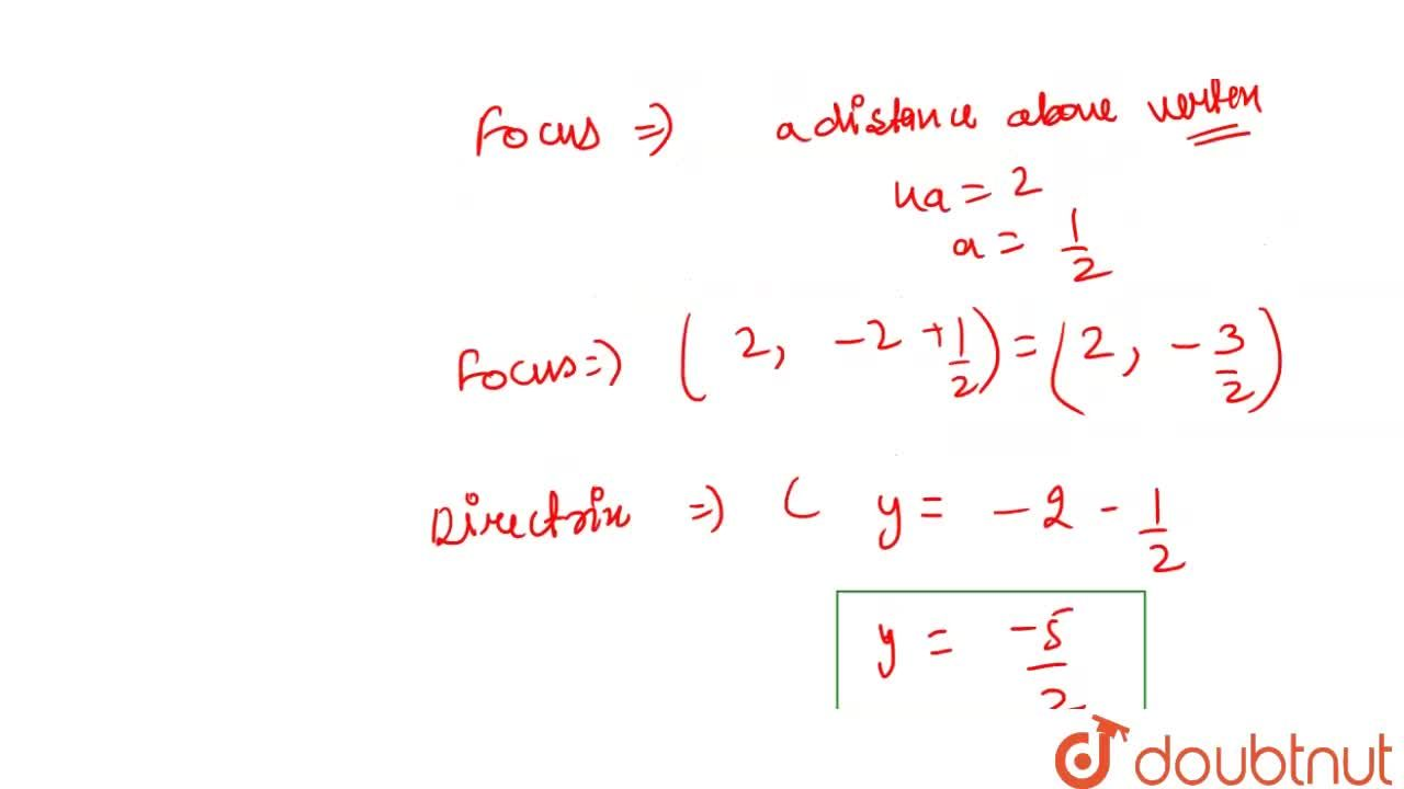 Solution for Find the vertex, focus and directrix of the parabo