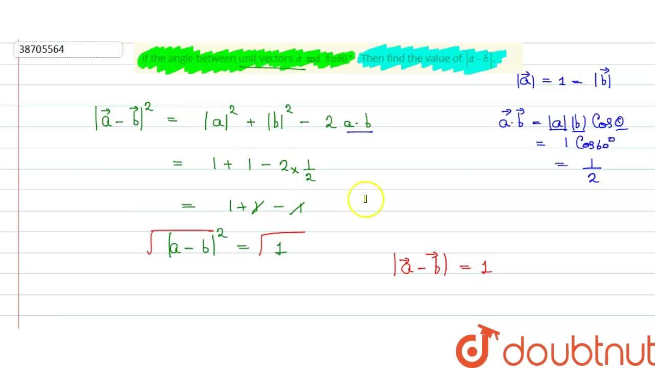 Solution for If the angle between unit vectors veca and vecb i