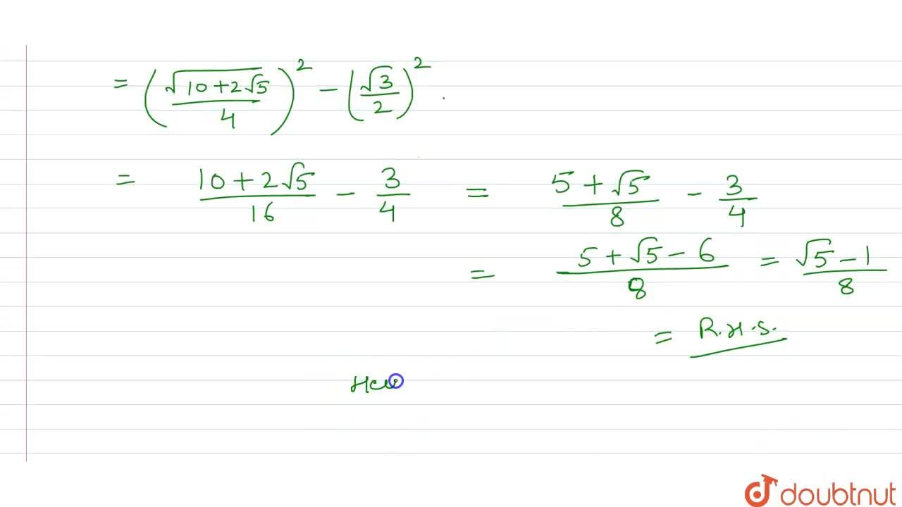 """Solution for  Prove that   <br> (i) """"sin""""^(2)  24^(@)  - sin^("""