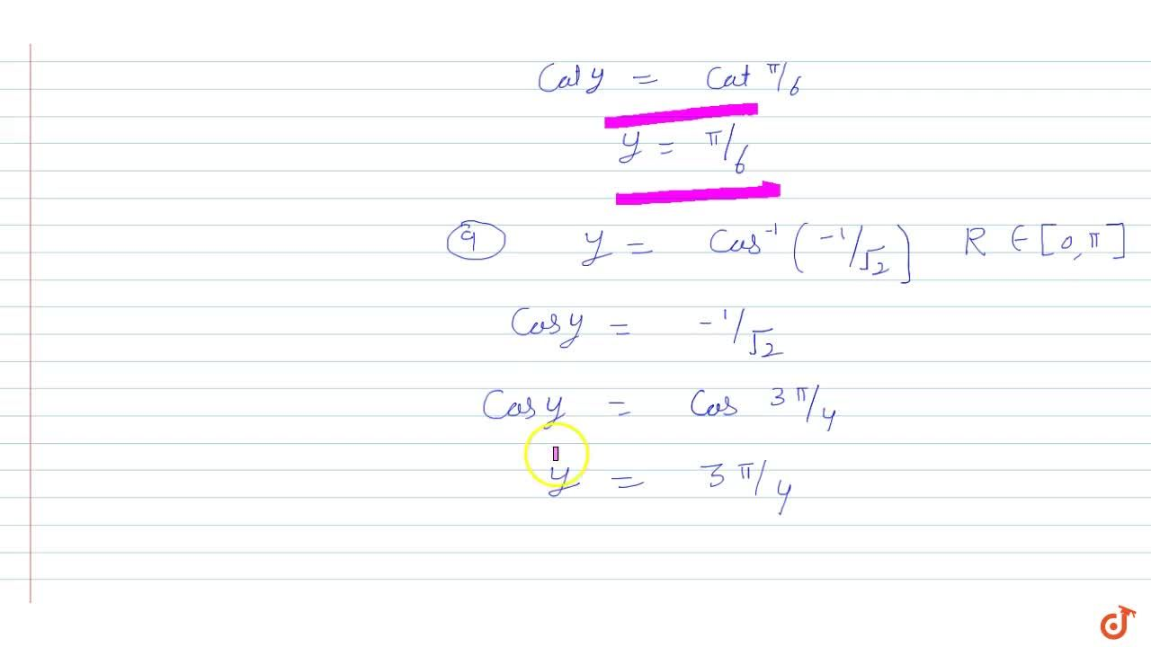 Solution for Find the principal value of: cos^(-1)(-1,(sqrt(2)