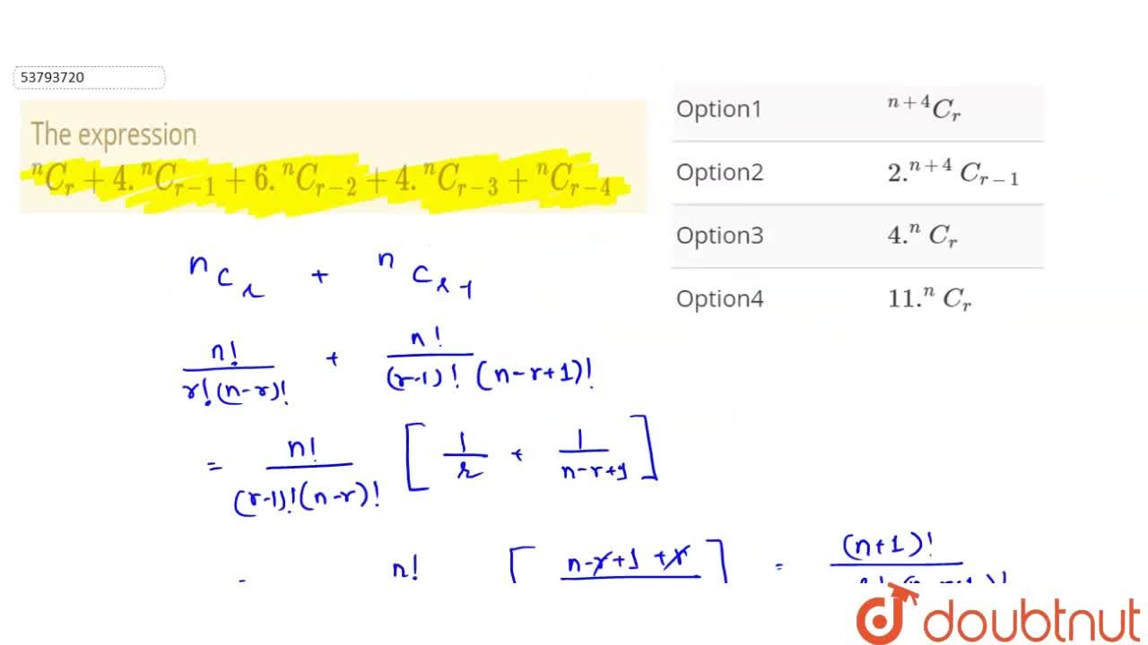 """Solution for The expression <br> """"""""^(n)C_(r)+4.""""""""^(n)C_(r-1)+6"""